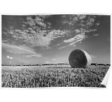 Black and White Hay Bale Landscape Poster