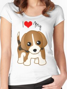 Cute Little Beagle Puppy Dog Women's Fitted Scoop T-Shirt