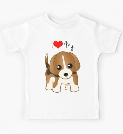 Cute Little Beagle Puppy Dog Kids Tee