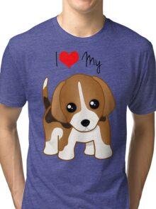 Cute Little Beagle Puppy Dog Tri-blend T-Shirt
