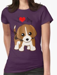 Cute Little Beagle Puppy Dog Womens Fitted T-Shirt