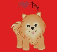 Cute Little Pomeranian Puppy Dog One Piece - Short Sleeve