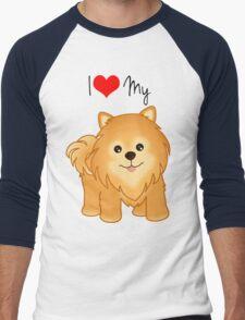 Cute Little Pomeranian Puppy Dog Men's Baseball ¾ T-Shirt