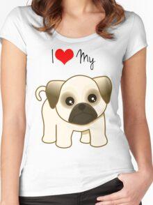Cute Little Pug Puppy Dog Women's Fitted Scoop T-Shirt
