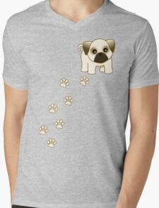 Cute Little Pug Puppy Dog Mens V-Neck T-Shirt