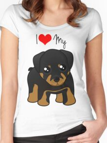 Cute Little Rottweiler Puppy Dog Women's Fitted Scoop T-Shirt
