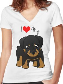 Cute Little Rottweiler Puppy Dog Women's Fitted V-Neck T-Shirt