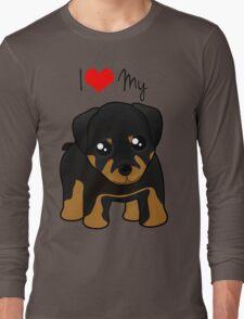 Cute Little Rottweiler Puppy Dog Long Sleeve T-Shirt