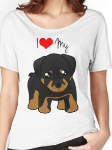 Cute Little Rottweiler Puppy Dog Women's Relaxed Fit T-Shirt