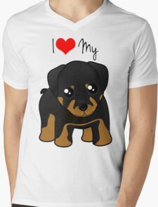 Cute Little Rottweiler Puppy Dog Mens V-Neck T-Shirt