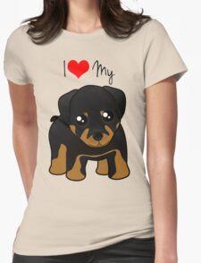 Cute Little Rottweiler Puppy Dog Womens Fitted T-Shirt