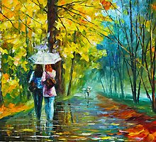 Autumn Gossip- Oil painting on Canvas By Leonid Afremov by Leonid  Afremov