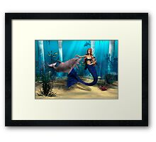 Mermaid and Dolphin Framed Print