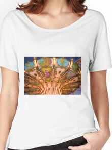 Ornate Swing Ride at Night on the Ocean City, NJ Boardwalk Women's Relaxed Fit T-Shirt