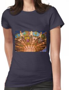 Ornate Swing Ride at Night on the Ocean City, NJ Boardwalk Womens Fitted T-Shirt