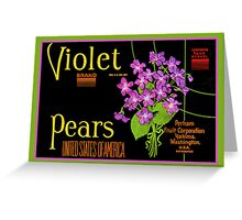 Violet Pears Fruit Crate Label Greeting Card