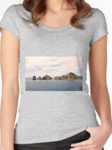 A Rocky Outcrop , Pacific Ocean  Women's Fitted Scoop T-Shirt