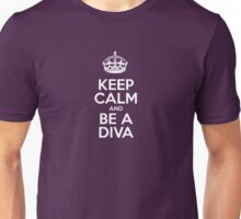 Keep Calm and Be a Diva - Pink Stripes Unisex T-Shirt