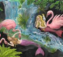Mermaid Flamingo River Party Cathy Peek Art by Cathy Peek
