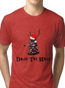 Dalek The Halls - Reindeer dalek santa Tri-blend T-Shirt