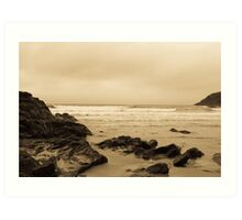 Antique tinted Cornish costal view Art Print
