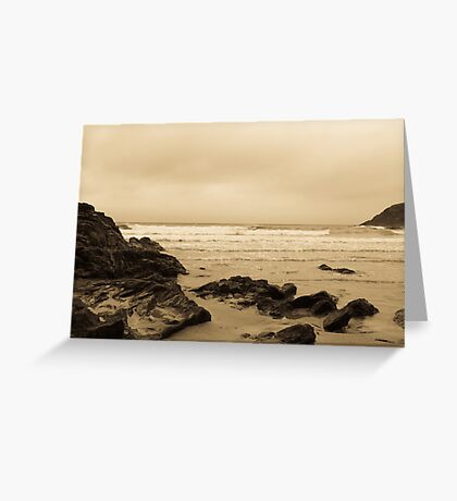 Antique tinted Cornish costal view Greeting Card