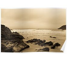 Antique tinted Cornish costal view Poster