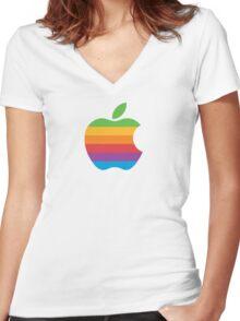 Apple Logo Merch Women's Fitted V-Neck T-Shirt