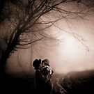 lovers full moon and fog by Loui  Jover