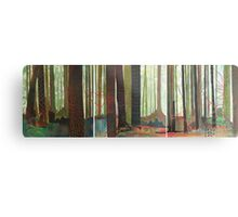 Embroidered Forest, mixed media and zentangles Metal Print