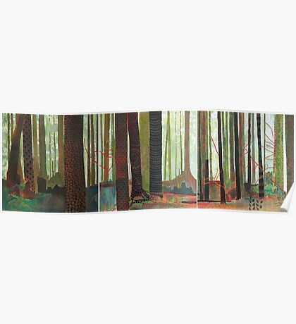 Embroidered Forest, mixed media and zentangles Poster