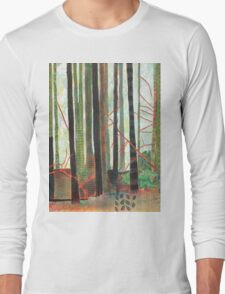 Embroidered Forest, mixed media and zentangles Long Sleeve T-Shirt