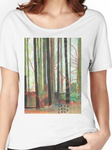 Embroidered Forest, mixed media and zentangles Women's Relaxed Fit T-Shirt