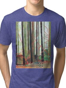 Embroidered Forest, mixed media and zentangles Tri-blend T-Shirt