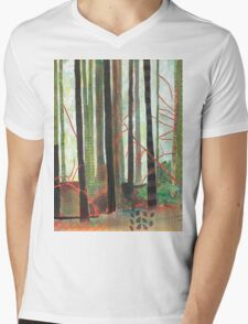 Embroidered Forest, mixed media and zentangles Mens V-Neck T-Shirt