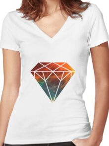 Galaxy Diamond Women's Fitted V-Neck T-Shirt