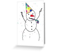 Celebrating Snowman Greeting Card