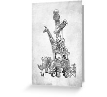 The Clockwork Menagerie (Silver) Greeting Card