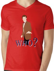 """WHO?"" Eleventh Doctor T-Shirt (1) Mens V-Neck T-Shirt"