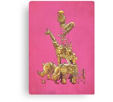 The Clockwork Menagerie (Fuchsia) Canvas Print