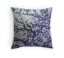 Purple and silver flowers with green leaves Throw Pillow