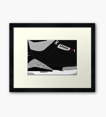 Made in China III Black/Cement Size US 9.5 - Pop Art, Sneaker Art, Minimal Framed Print