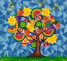 Tutti Fruti Tree by Lisa Frances Judd~QuirkyHappyArt