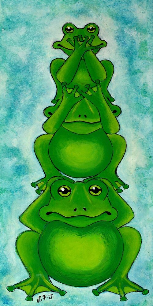 Three Wise Frogs by Lisafrancesjudd