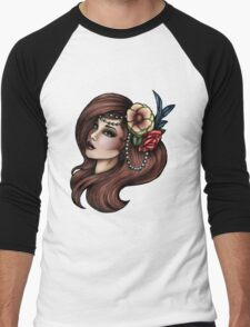 Cara Mia - Flowers and Feathers Men's Baseball ¾ T-Shirt