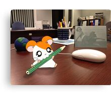 Hamtaro on my desk Canvas Print