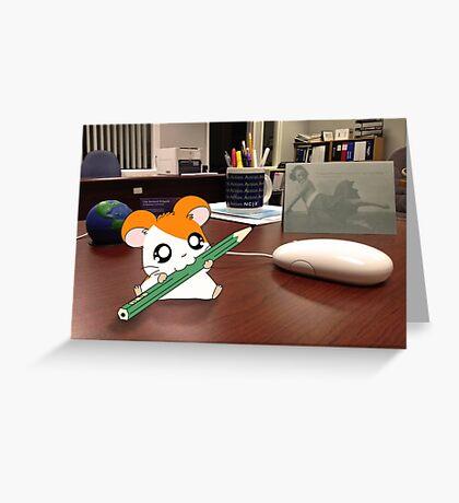 Hamtaro on my desk Greeting Card