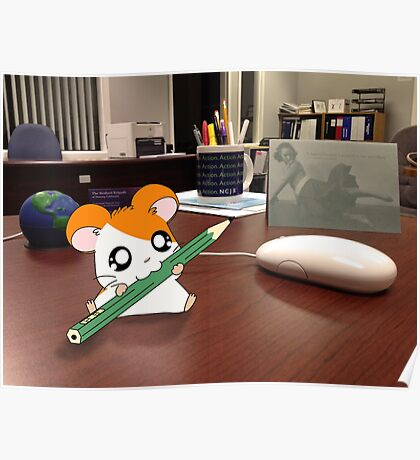 Hamtaro on my desk Poster