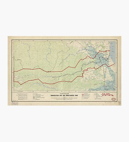 Vietnam Demarcation Line and Demilitarized Zone Map (1957) Photographic Print