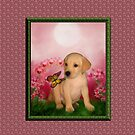 Yellow Labrador Puppy With Butterfly And Flowers by SmilinEyes